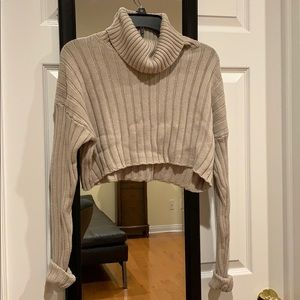 Ribbed Knit Cropped Turtleneck Sweater